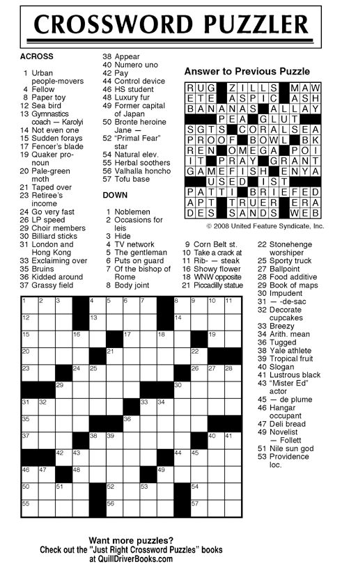 This is a graphic of Gutsy Daily Crossword Puzzles Printable